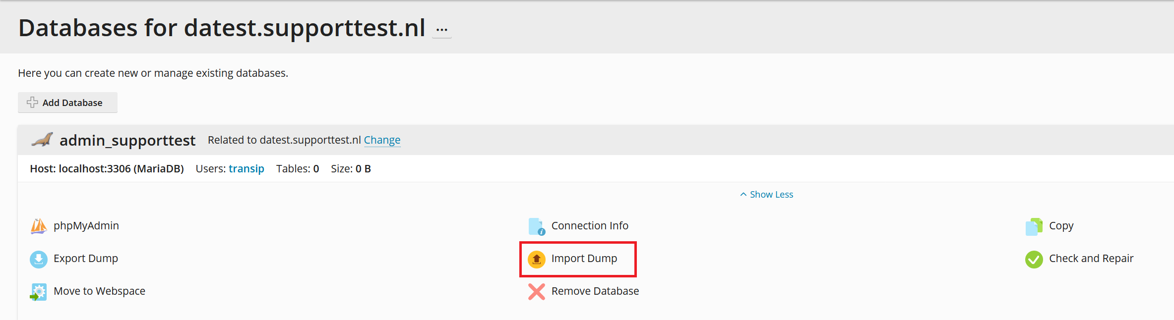 plesk databases phpmyadmin