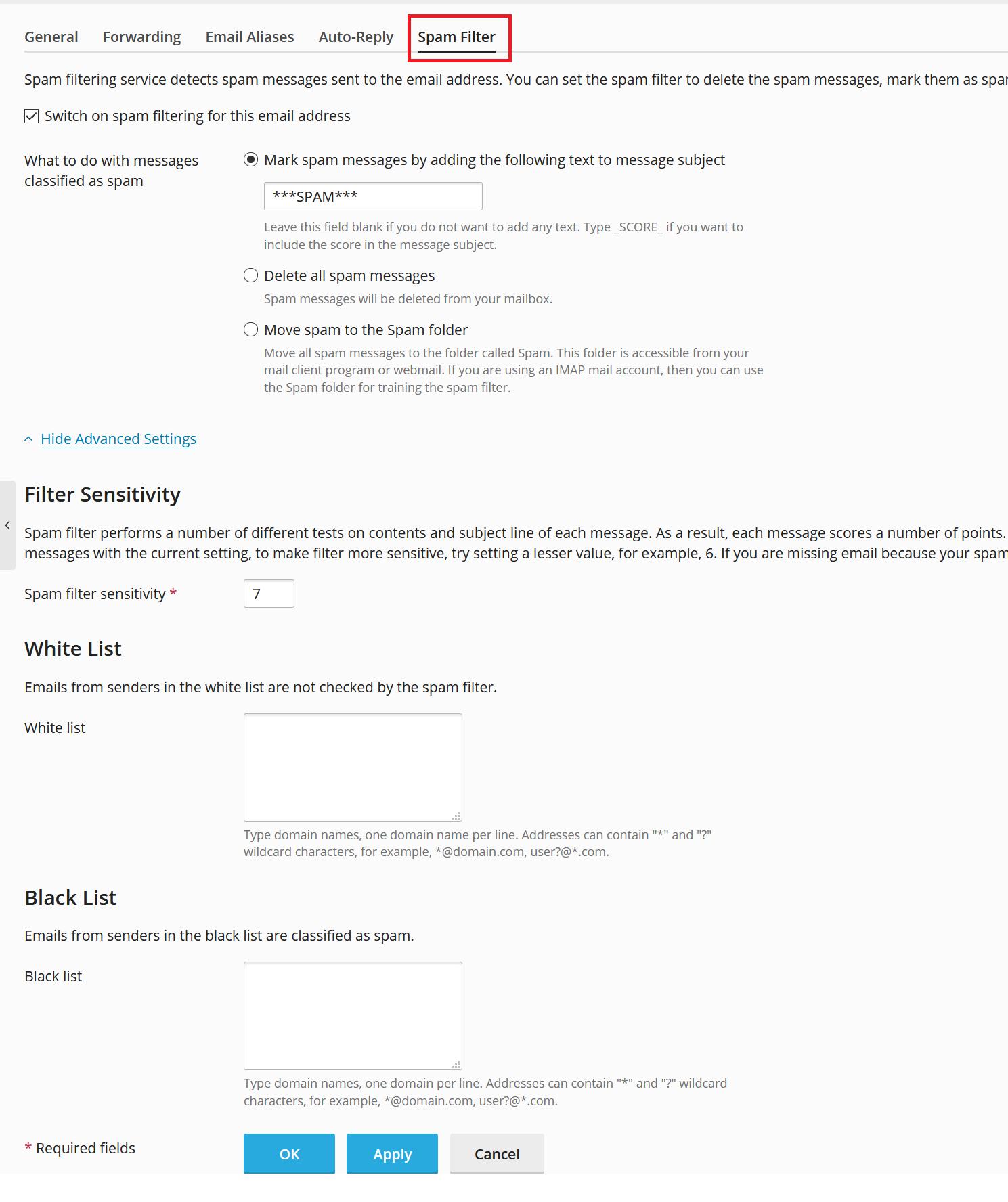 plesk mail address spam filter settings