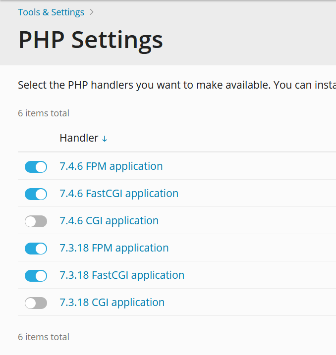 plesk php settings handlers overview