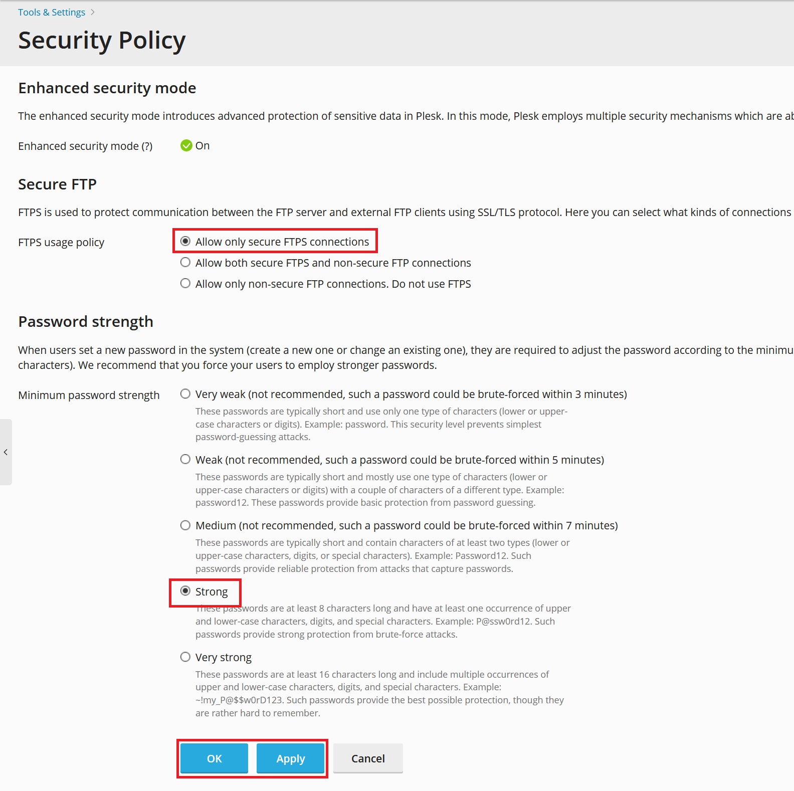 plesk security policy settings