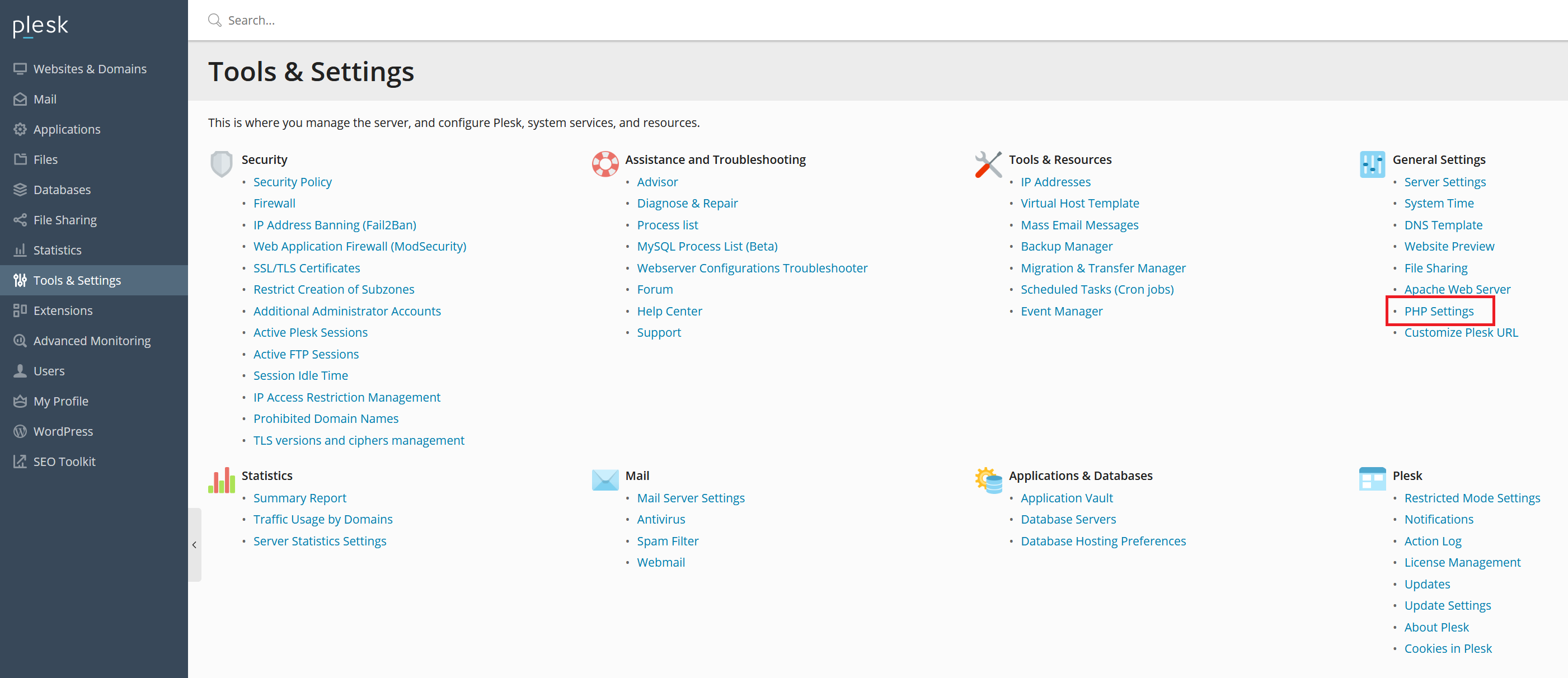 plesk tools and settings php settings