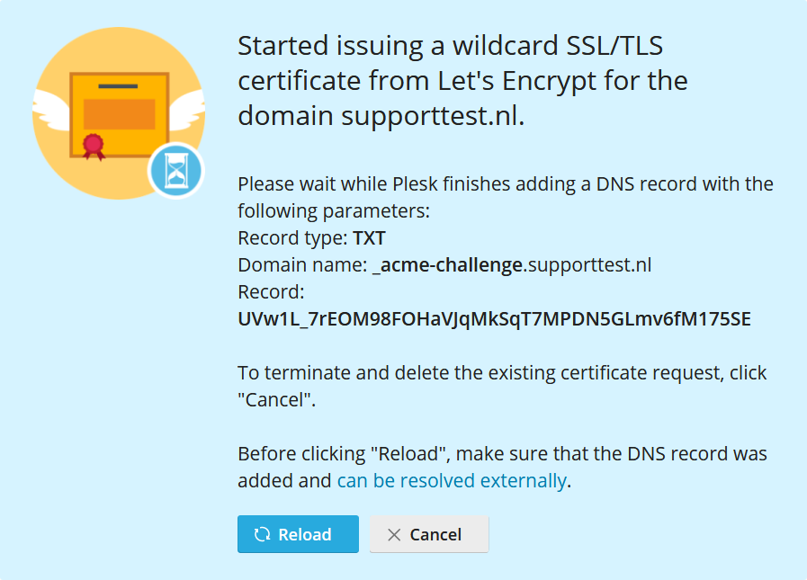 plesk website and domains new ssl cert acme challenge