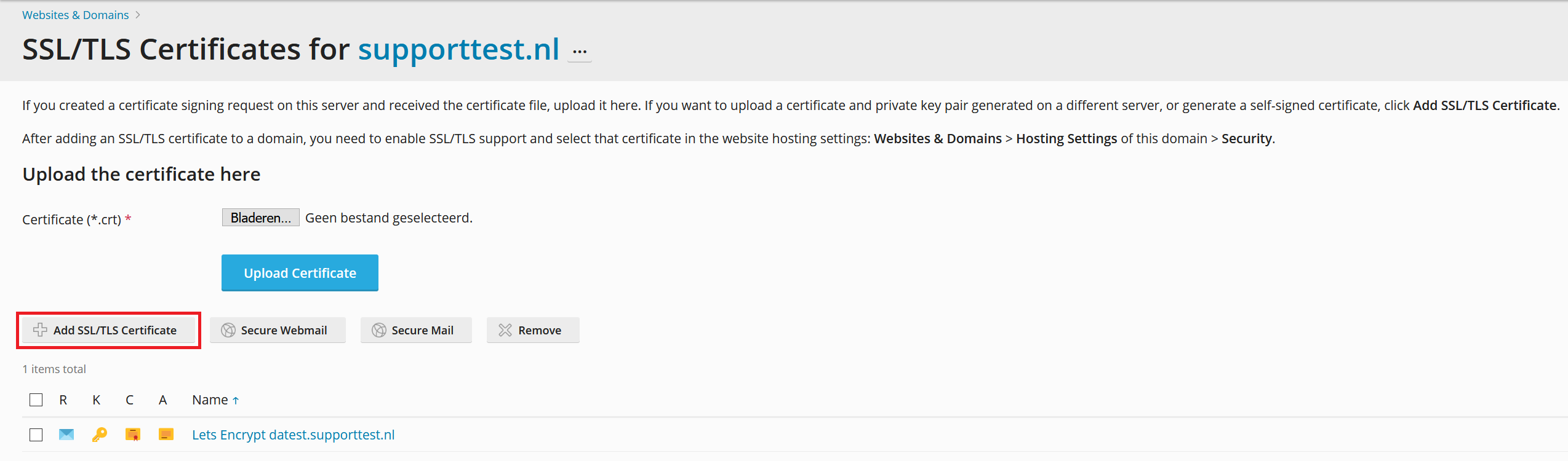 plesk website and domains add ssl certificate