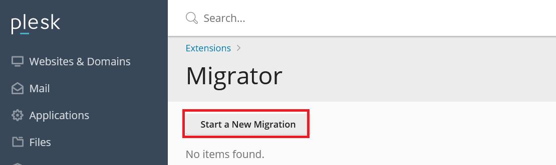 plesk migrator start a new migration