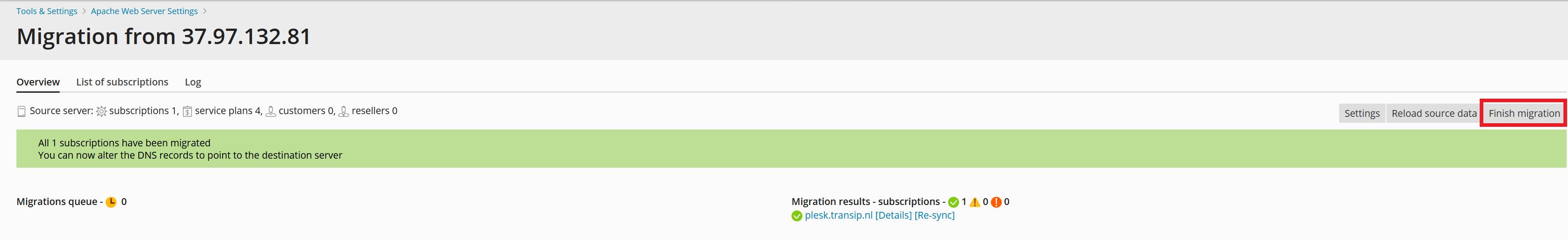 plesk migrator migration finished