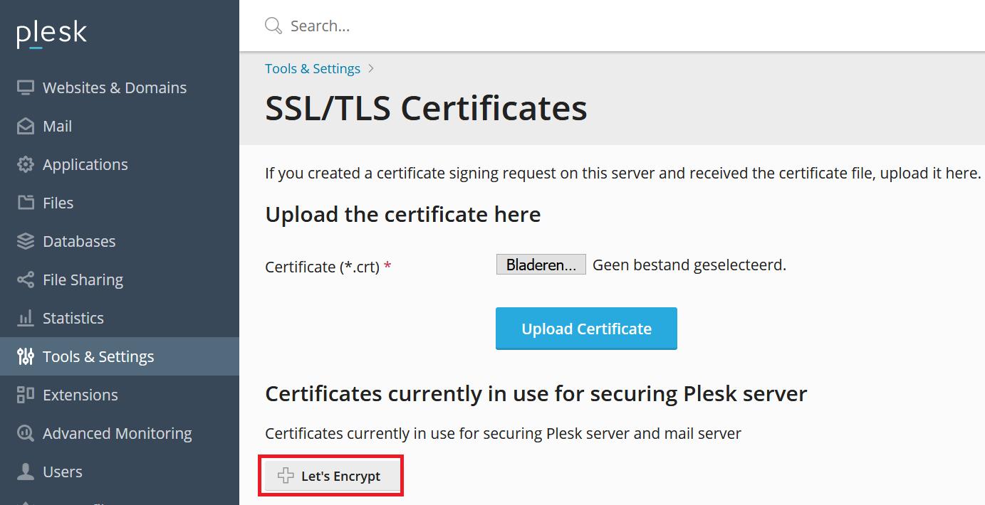 Plesk Let's Encrypt certificaat toevoegen