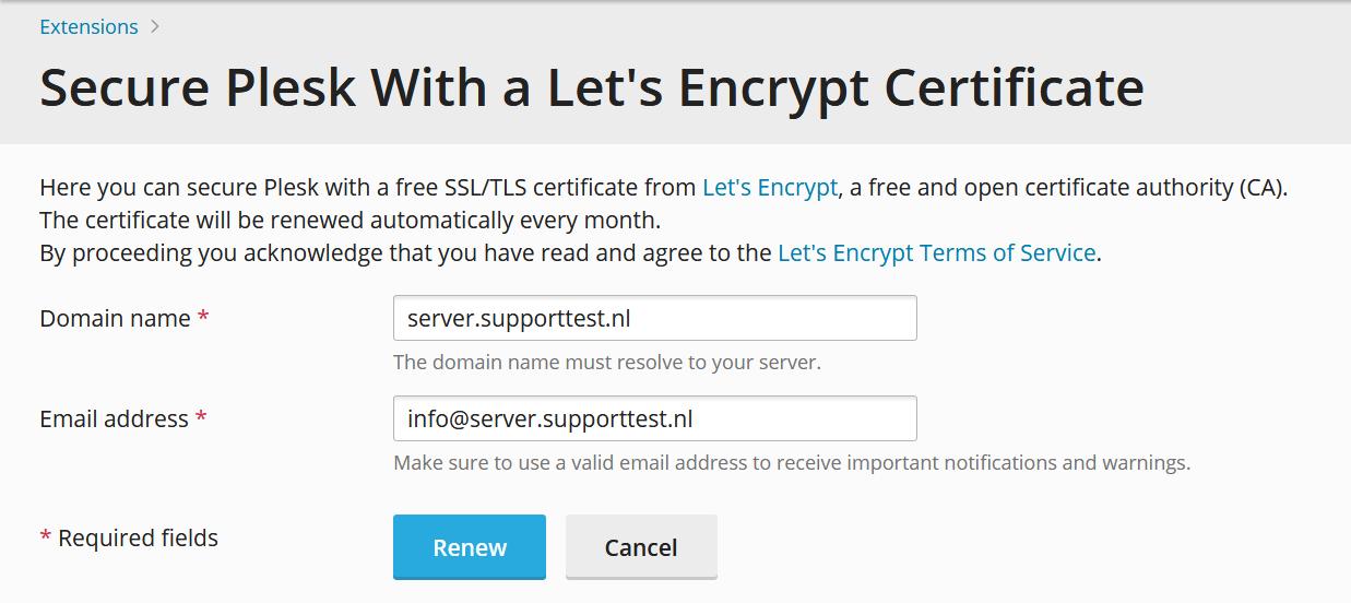 plesk install let's encrypt