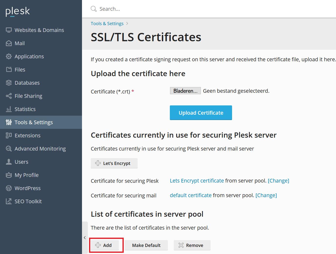 Plesk ssl certificaat toevoegen