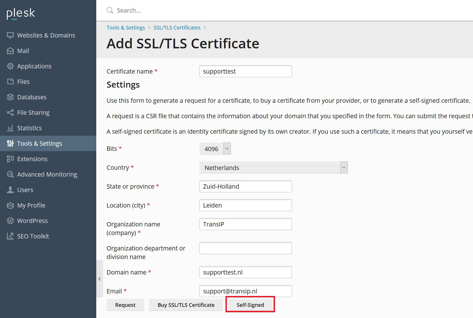 Plesk add SSL certificate settings