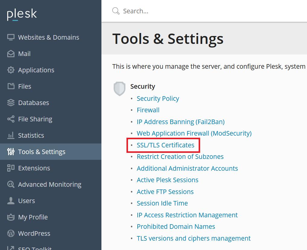 Plesk tools and settings SSL menu