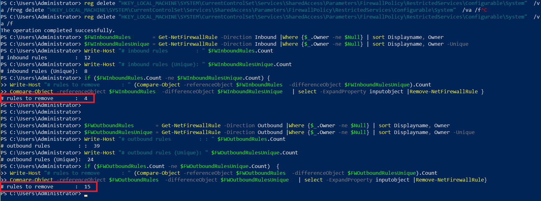 powershell firewall rules to remove