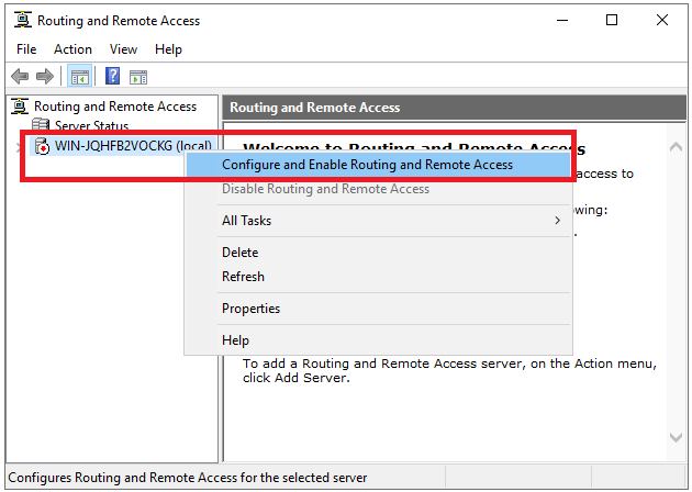 routing remote access configure