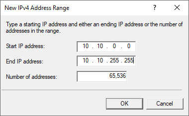 routing remote access ipv4 range specify