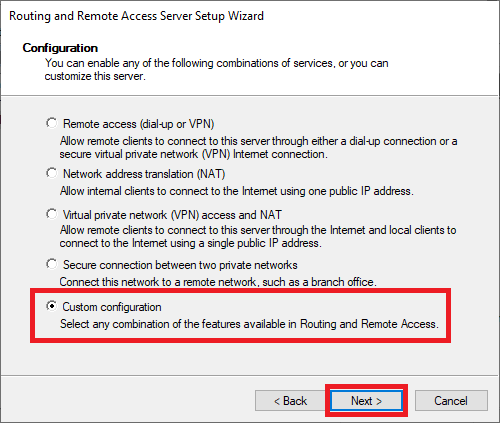 remote access wizard custom configuration