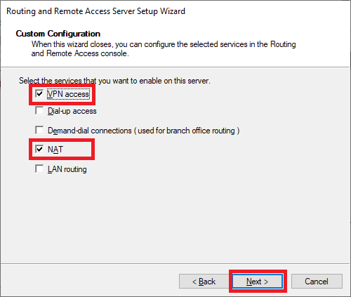 routing and remote access wizard vpn access