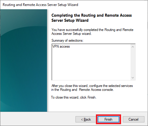 routing remote access wizard finish