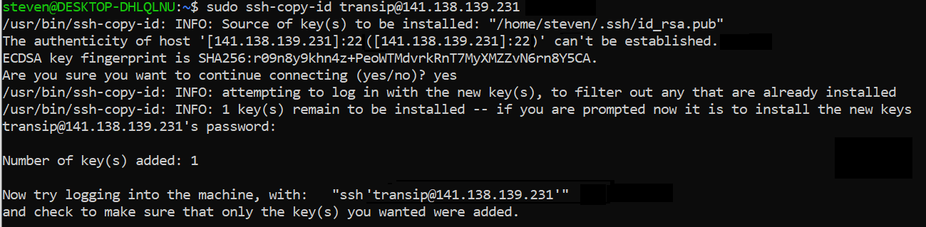 ssh key added