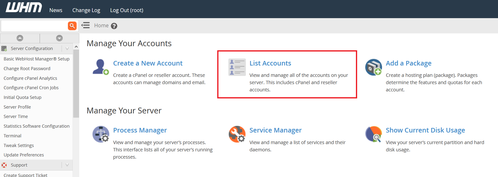 whm manage accounts list accounts