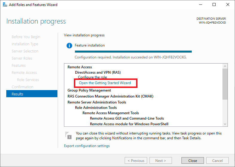windows add remote access results