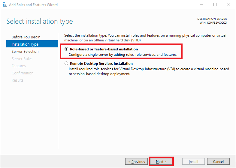 windows add role based installation