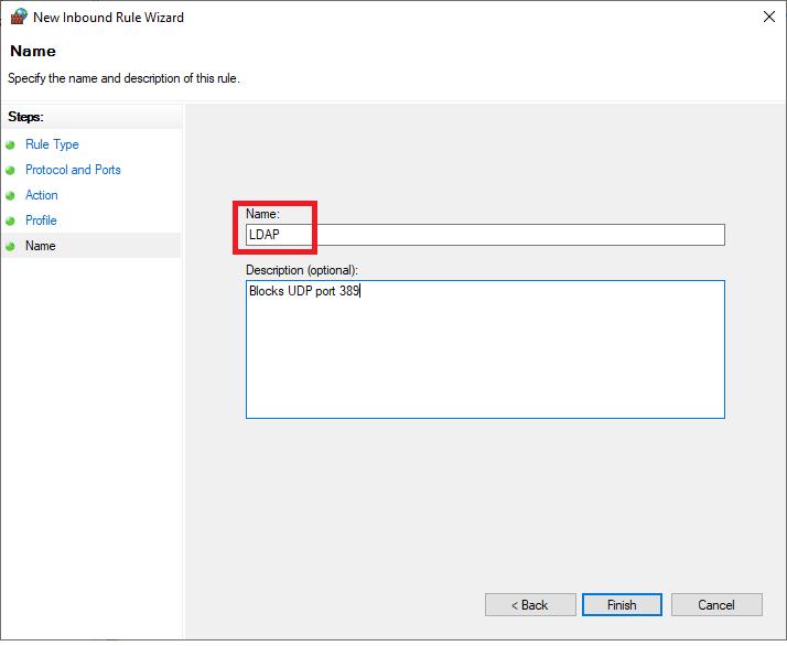 windows firewall new rule name