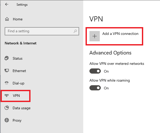 windows settings vpn