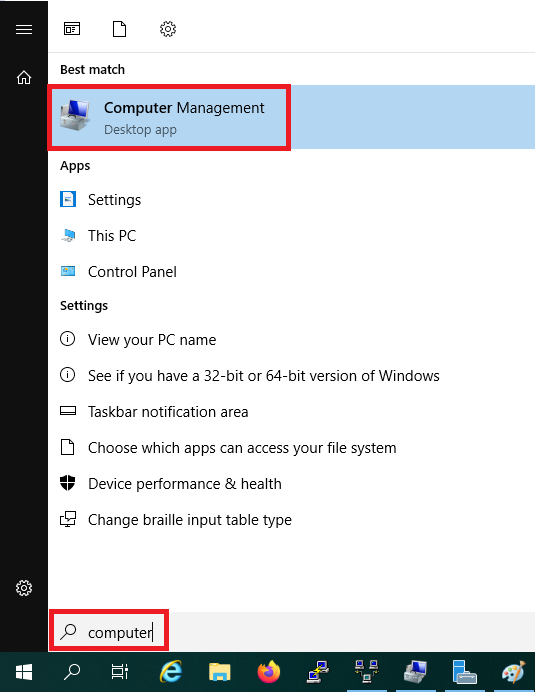 windows start computer management