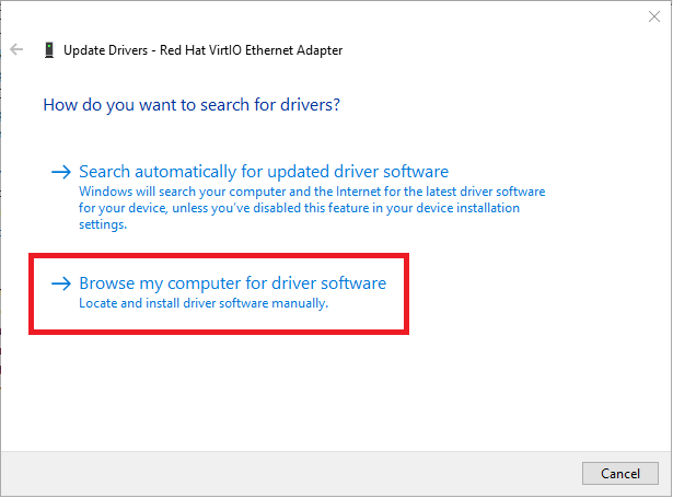update virtio driver browse computer