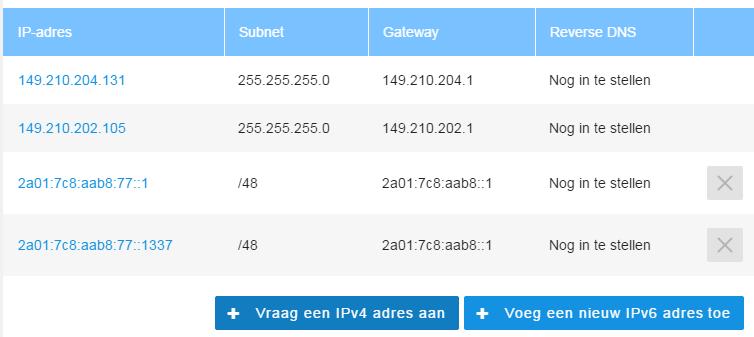 VPS IP adressen overzicht